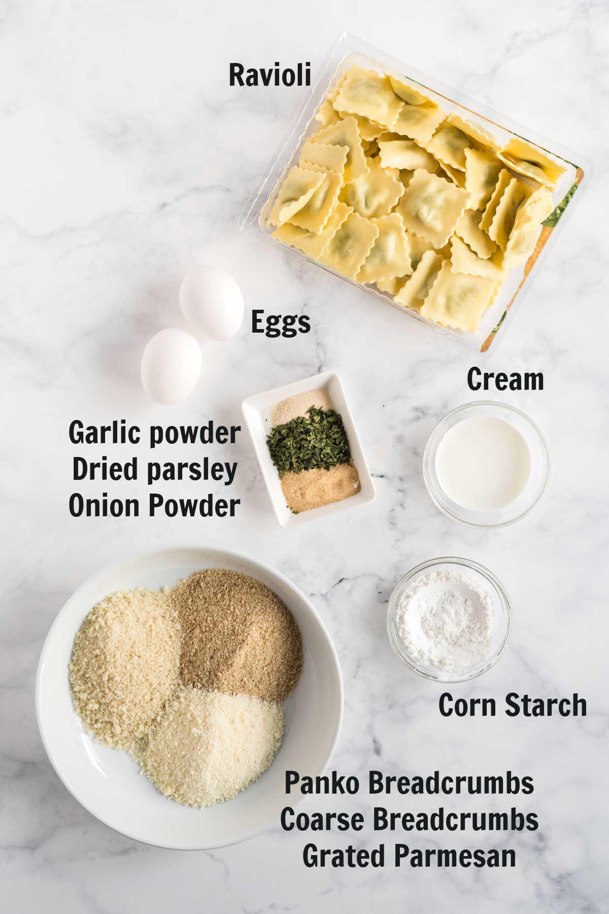 Ingredients for air fried ravioli.