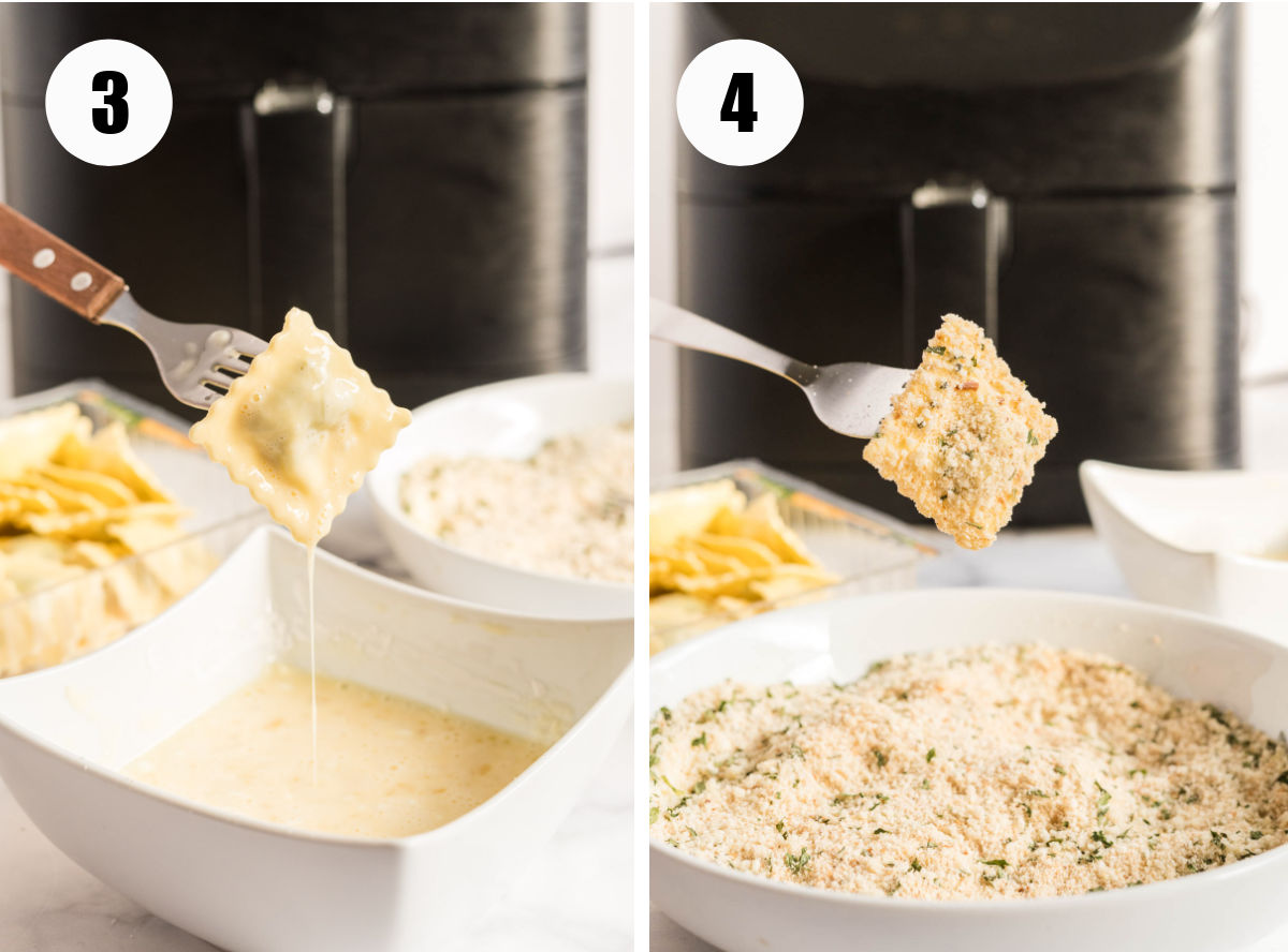 Process photos showing ravioli dipped in egg wash then in breadcrumbs.