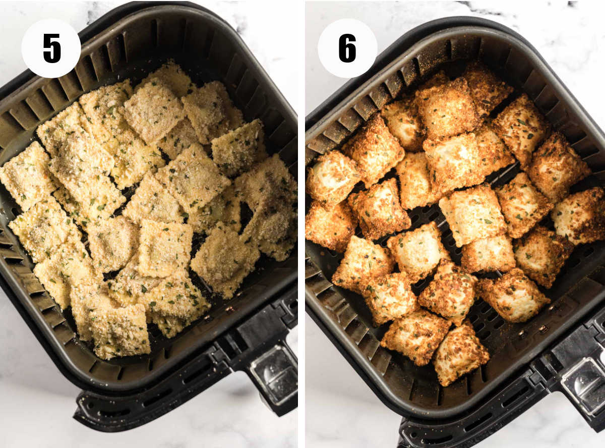 Breaded ravioli in an air fryer basket before and after cooking.