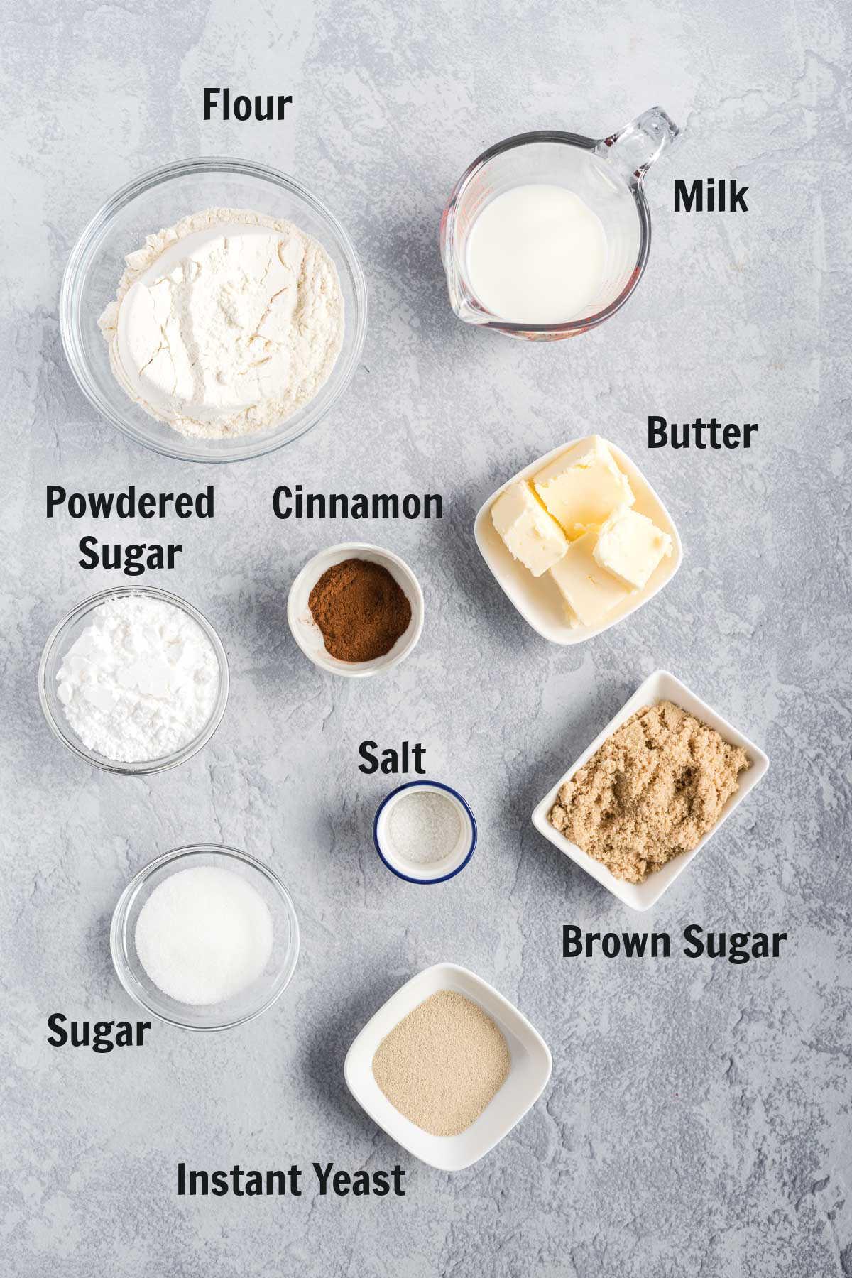 Ingredients to make cinnamon rolls.