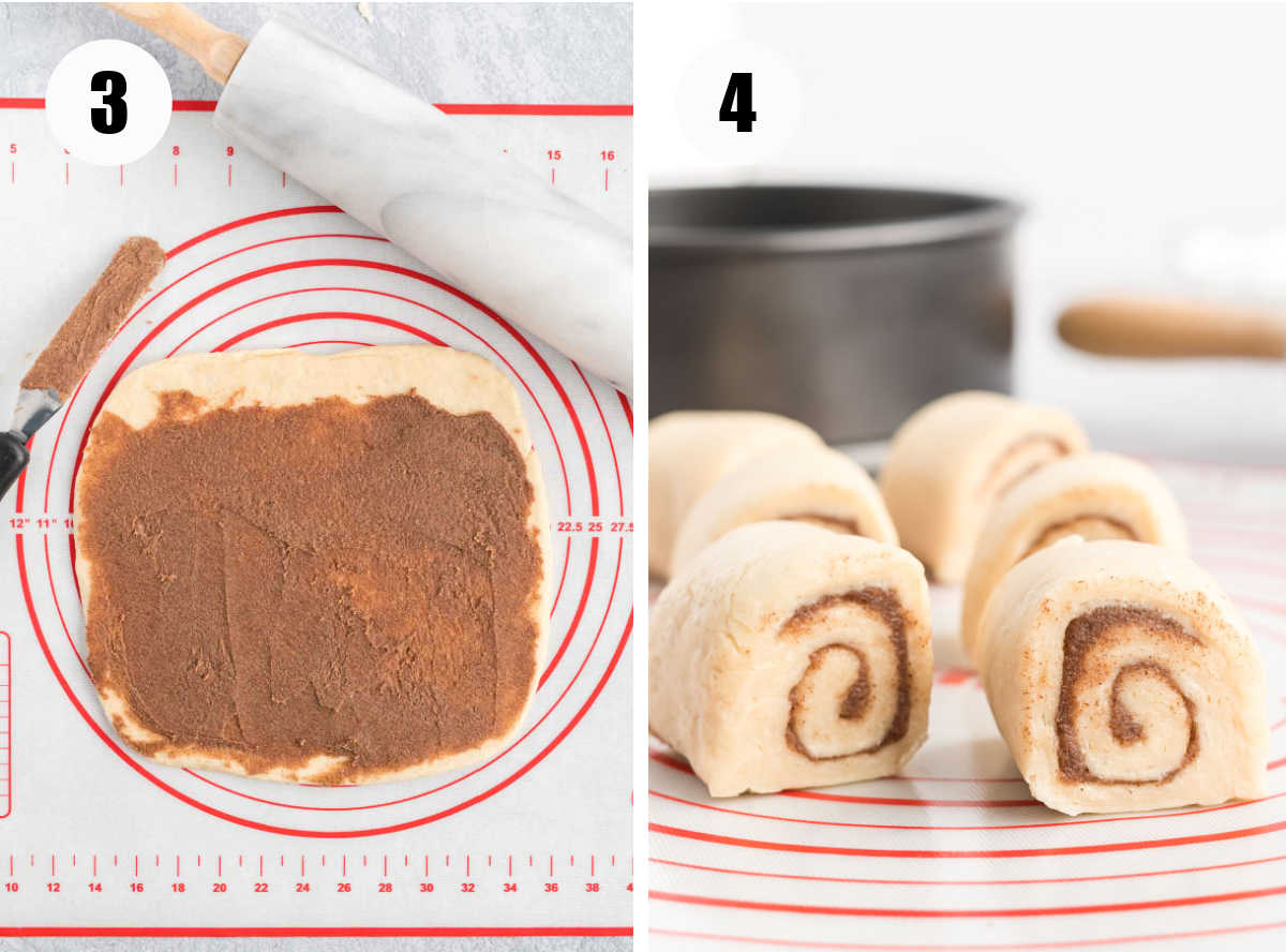 An image of dough rolled and spread with cinnamon filling and an image of the dough rolled up and cut.