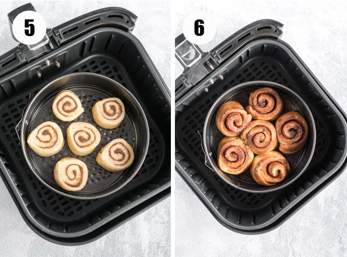 Cinnamon rolls in a spring form pan in the air fryer before and after cooking.