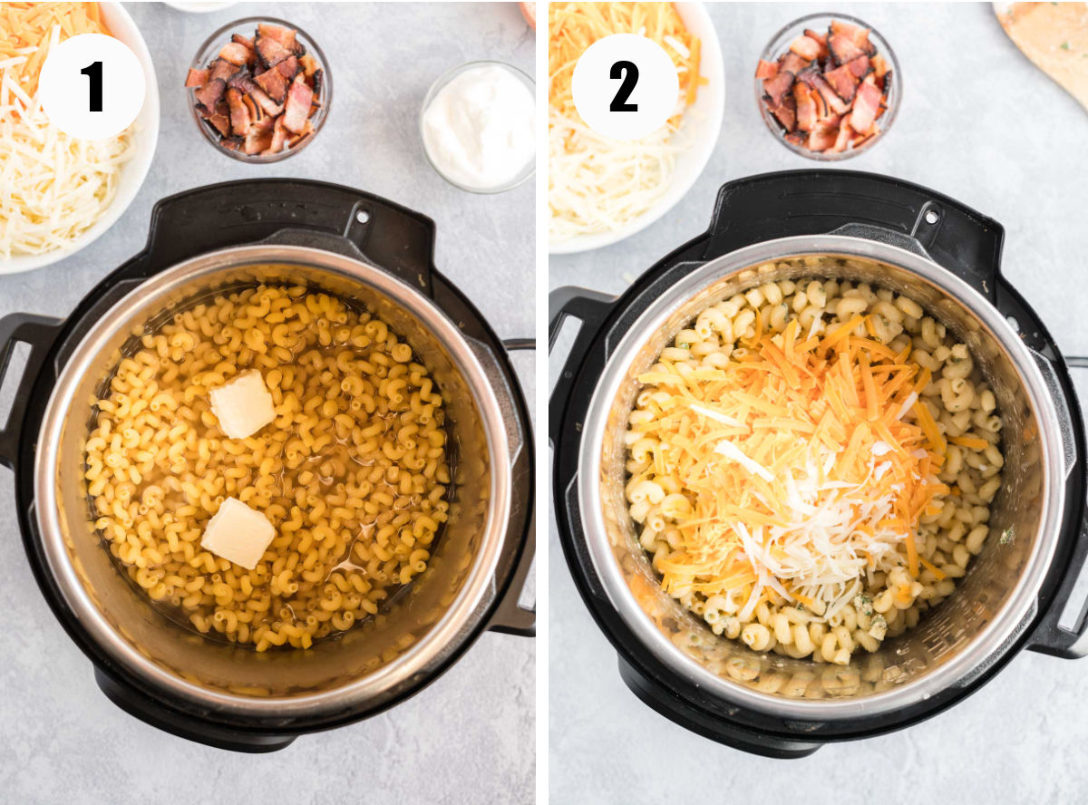 Process images showing noodles in pot before and after cooking.