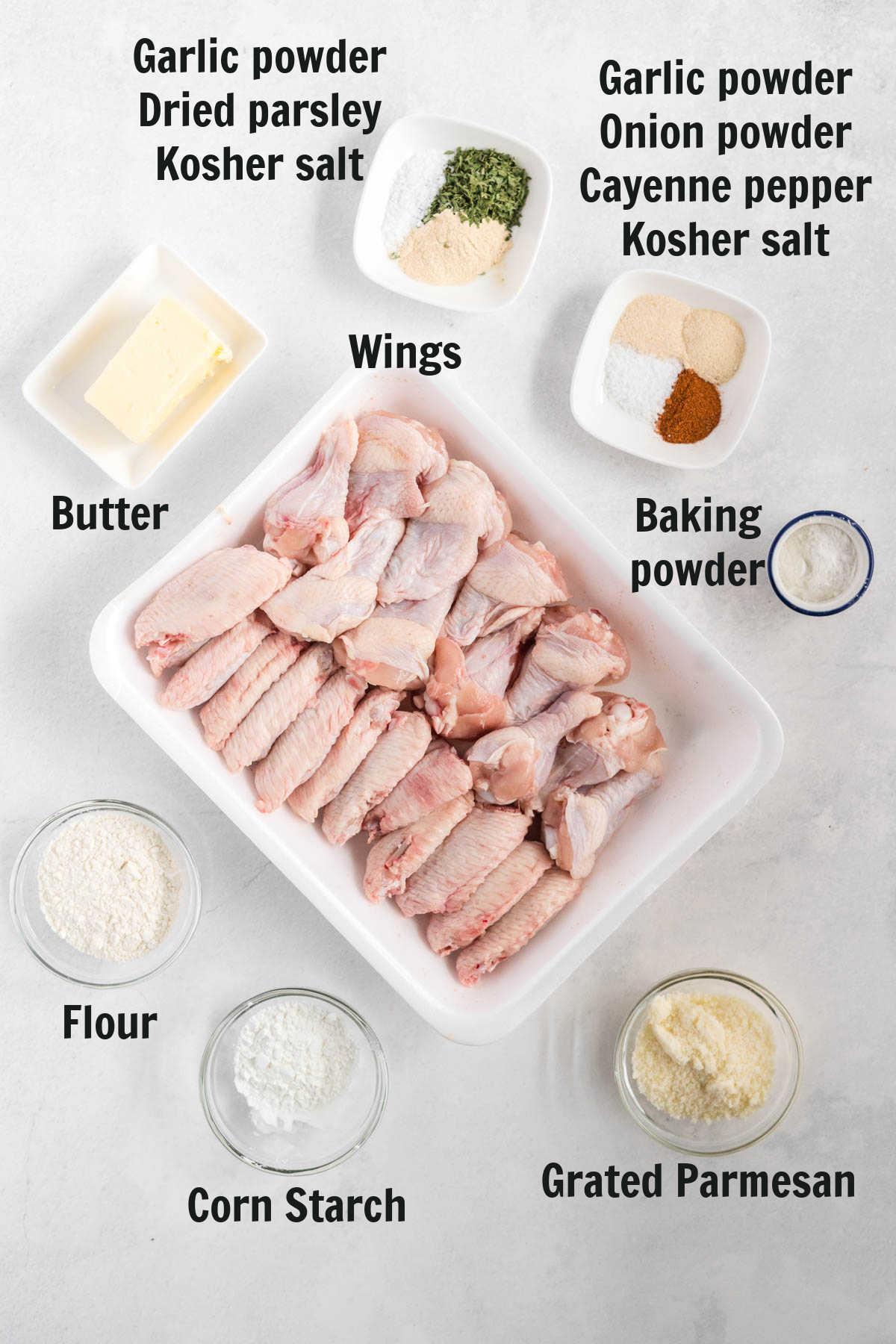 Ingredient to make garlic parmesan wings.