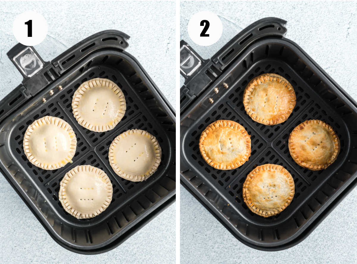 Mini pies in air fryer basket before and after cooking.