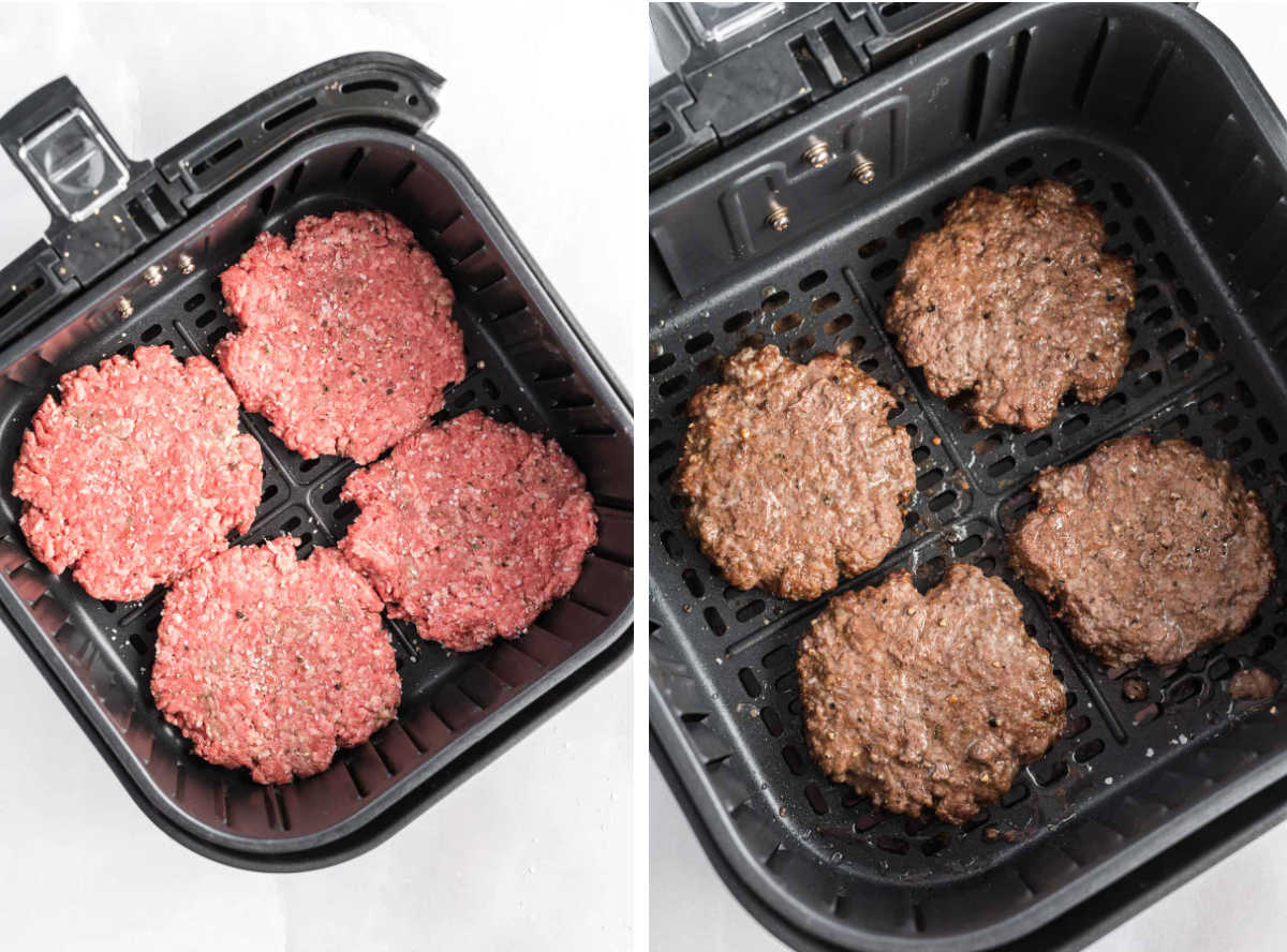Hamburger patties in an air fryer basket before and after cooking.