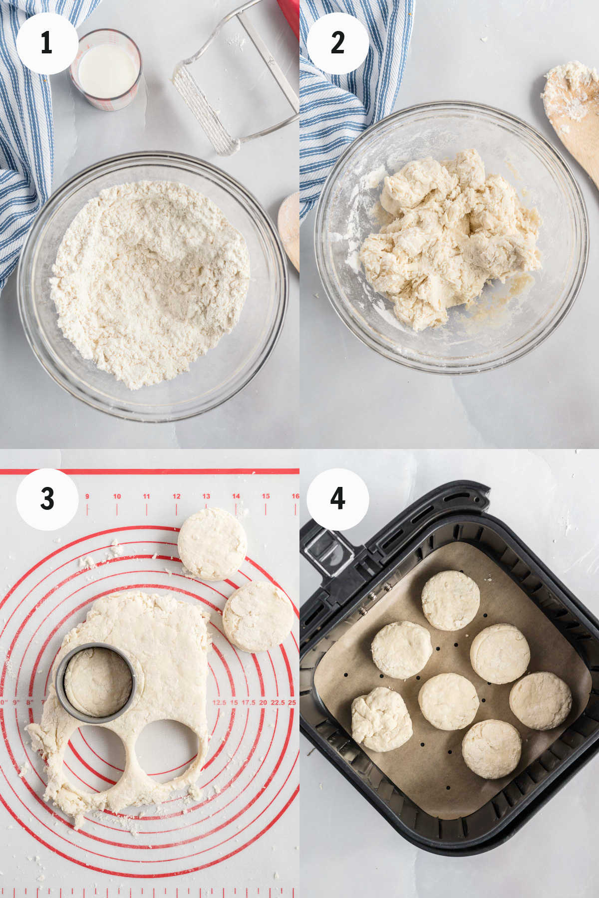 Mixing dough, cutting into rounds with biscuit cutter, and placing in air fryer basket.