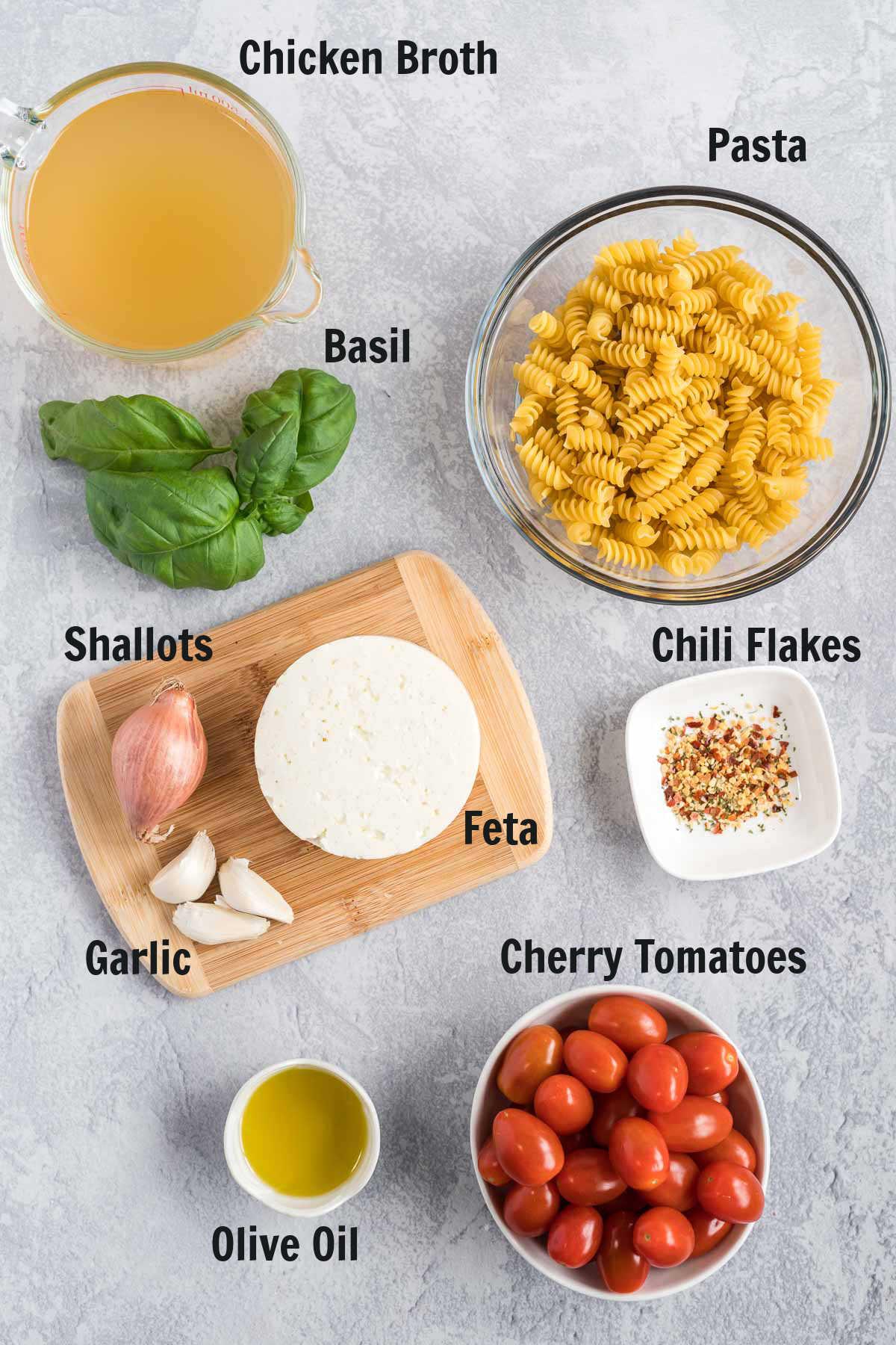 Ingredients for tomato feta pasta.