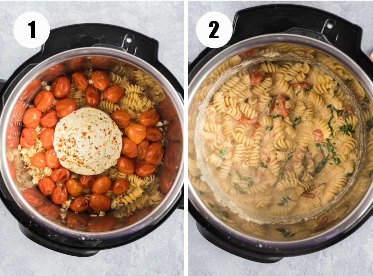 Tomato feta pasta in an instant pot before and after mixing.