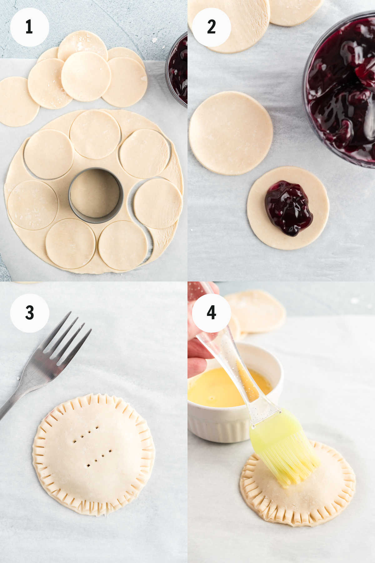 Cutting pastry and filling with blueberry pie filling.
