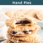 Blueberry hand pies in a stack.