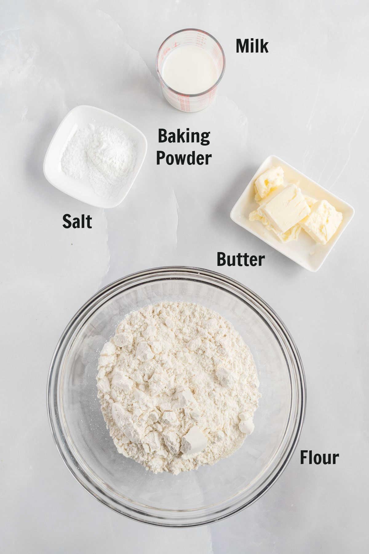 Ingredients for baking powder biscuits.