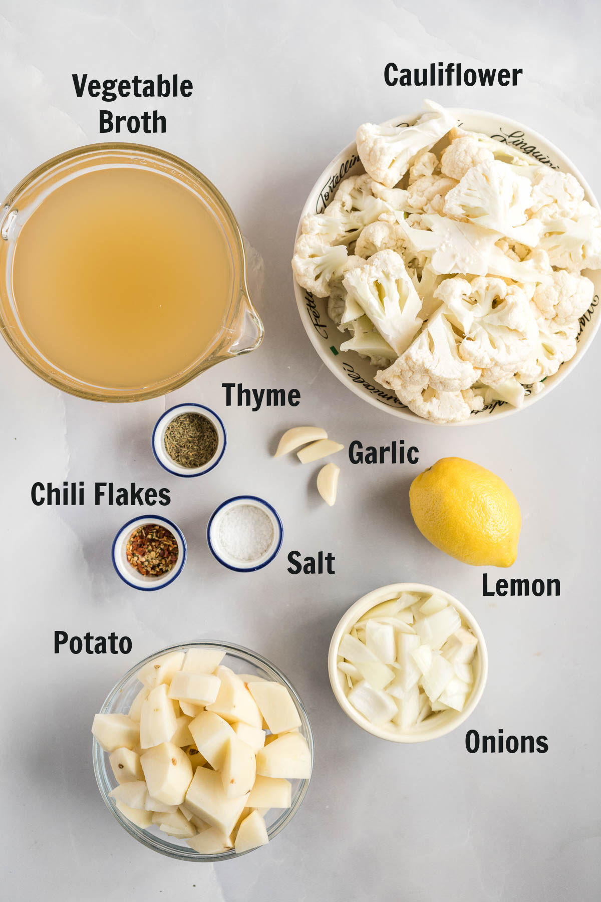 Ingredients for cauliflower soup.