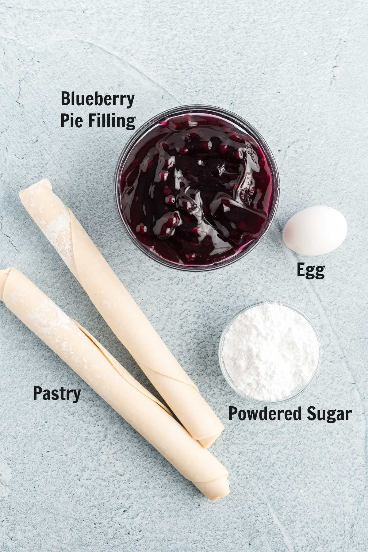 Blueberry hand pie ingredients.