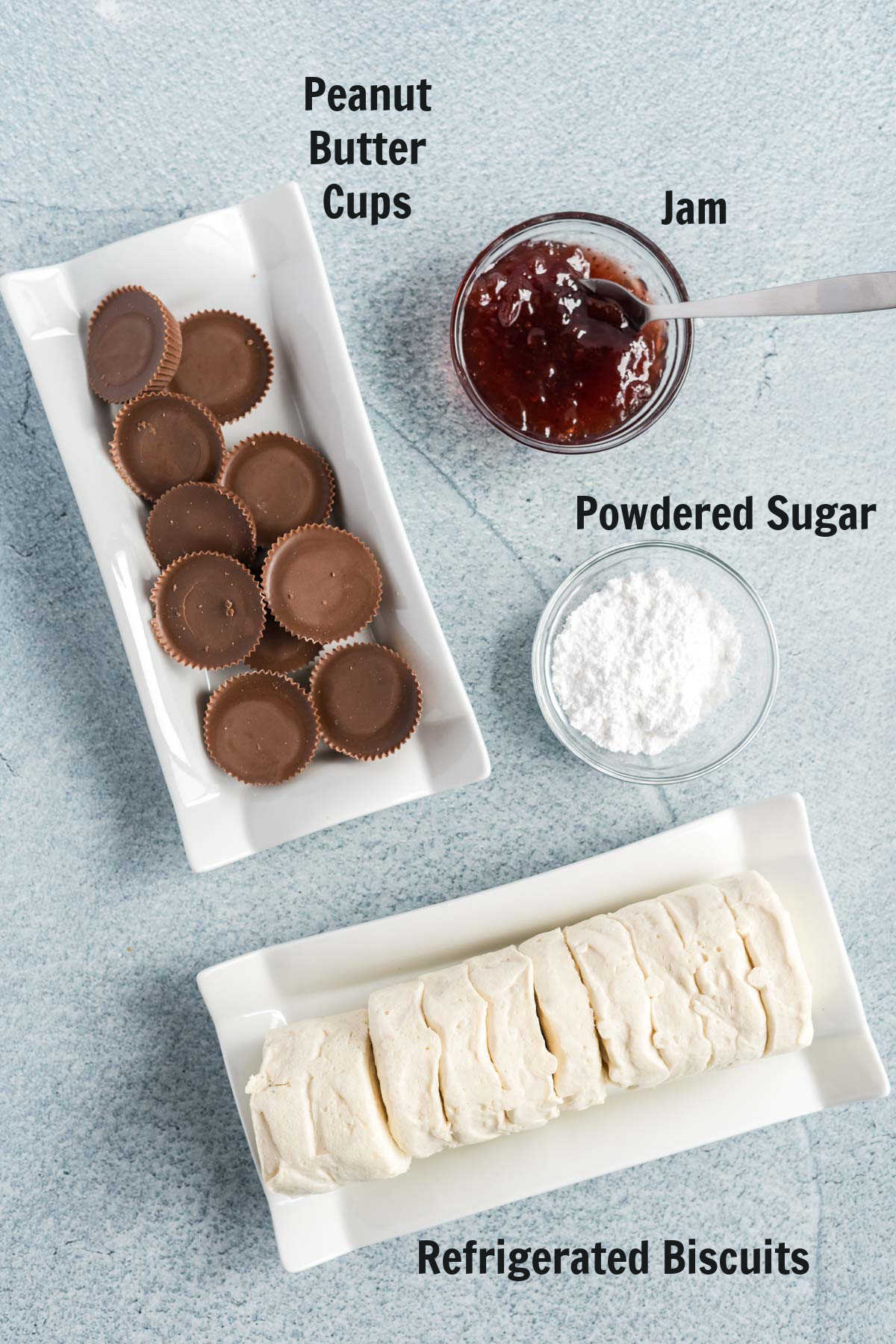 Ingredients for air fried peanut butter cups.