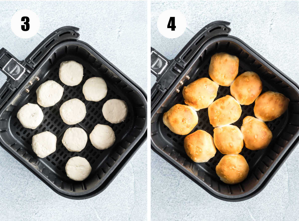 Peanut butter cups wrapped in dough in an air fryer basket before and after cooking.