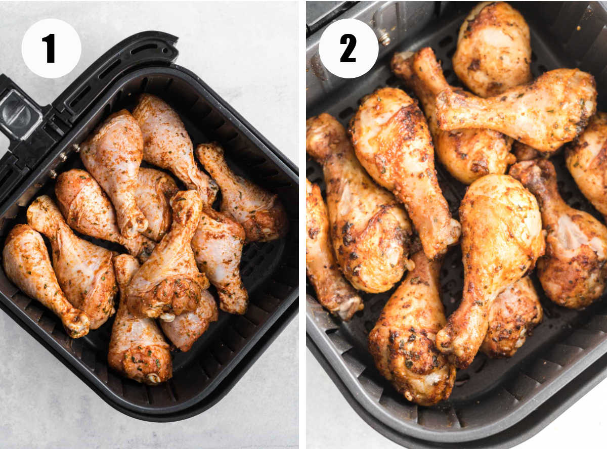 Chicken drumsticks in an air fryer basket before and after cooking.