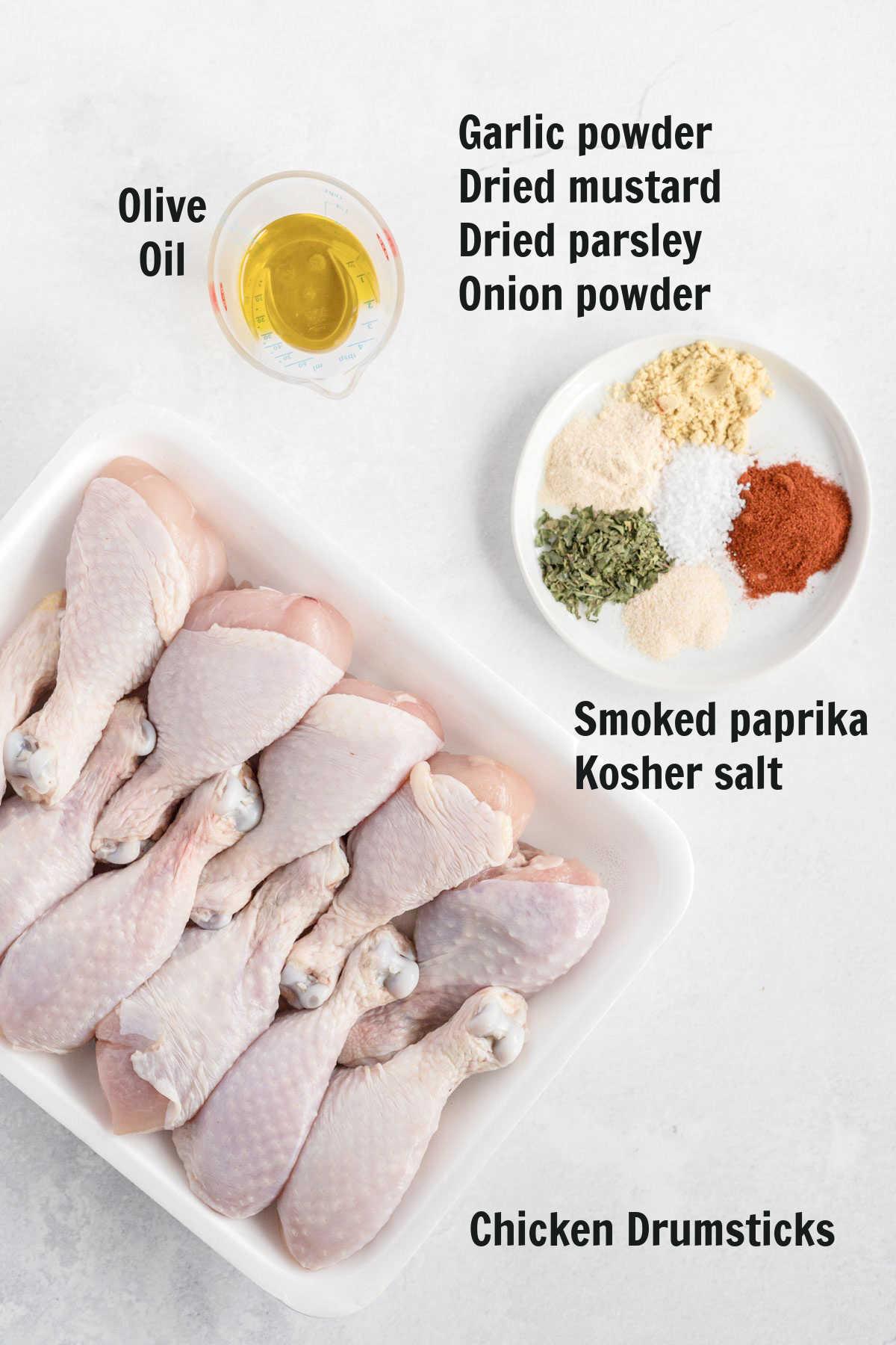 Ingredients for air fryer drumsticks.