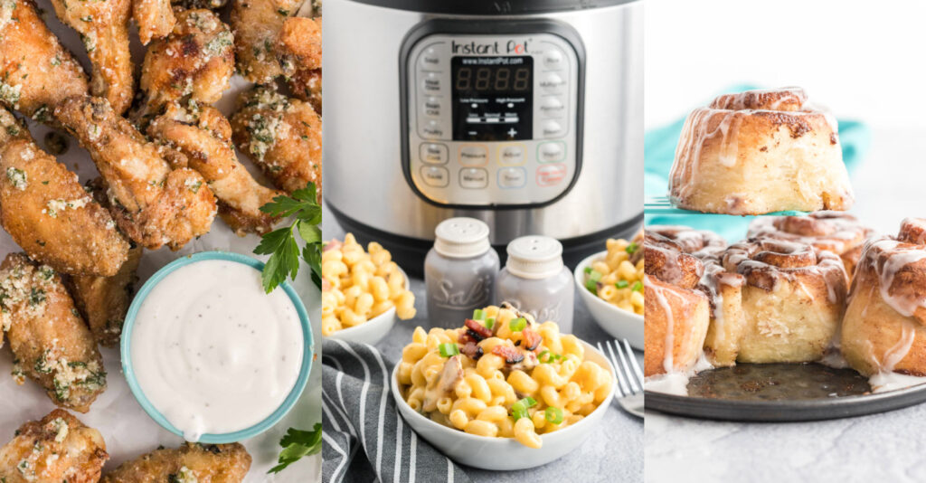 Three image collage. Left, garlic parmesan wings. Middle, instant pot mac and cheese. Right, Cinnamon buns.