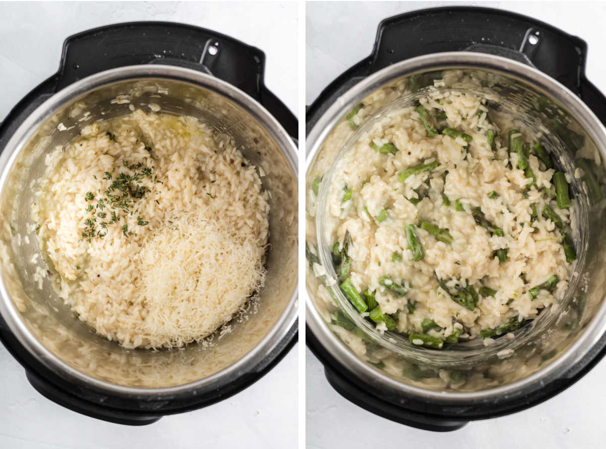 Collage of two photos showing cooked rice in an instant pot before and after mixing in parmesan cheese and asparagus.