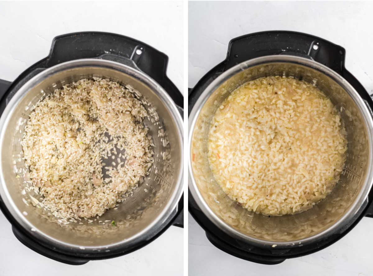 Rice in an instant pot before and after cooking.