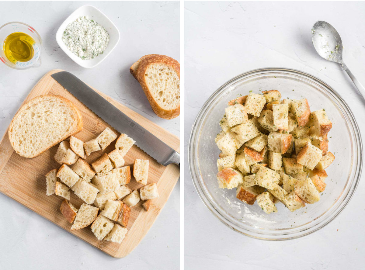 Bread cut into cubes on a cutting board and a bowl of bread cubes tossed in olive oil and ranch seasoning.