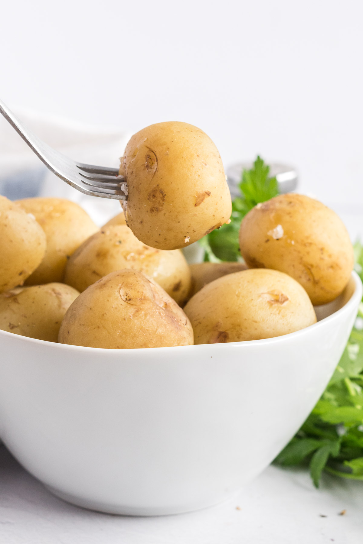 A baby potato on the end of a fork being lifted from a bowl of potatoes.