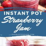 Strawberry jam in small mason jars with a spoon.
