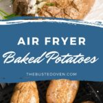 Four baked potatoes in an air fryer basket and one baked potato split open with sour cream, green onion and bacon.