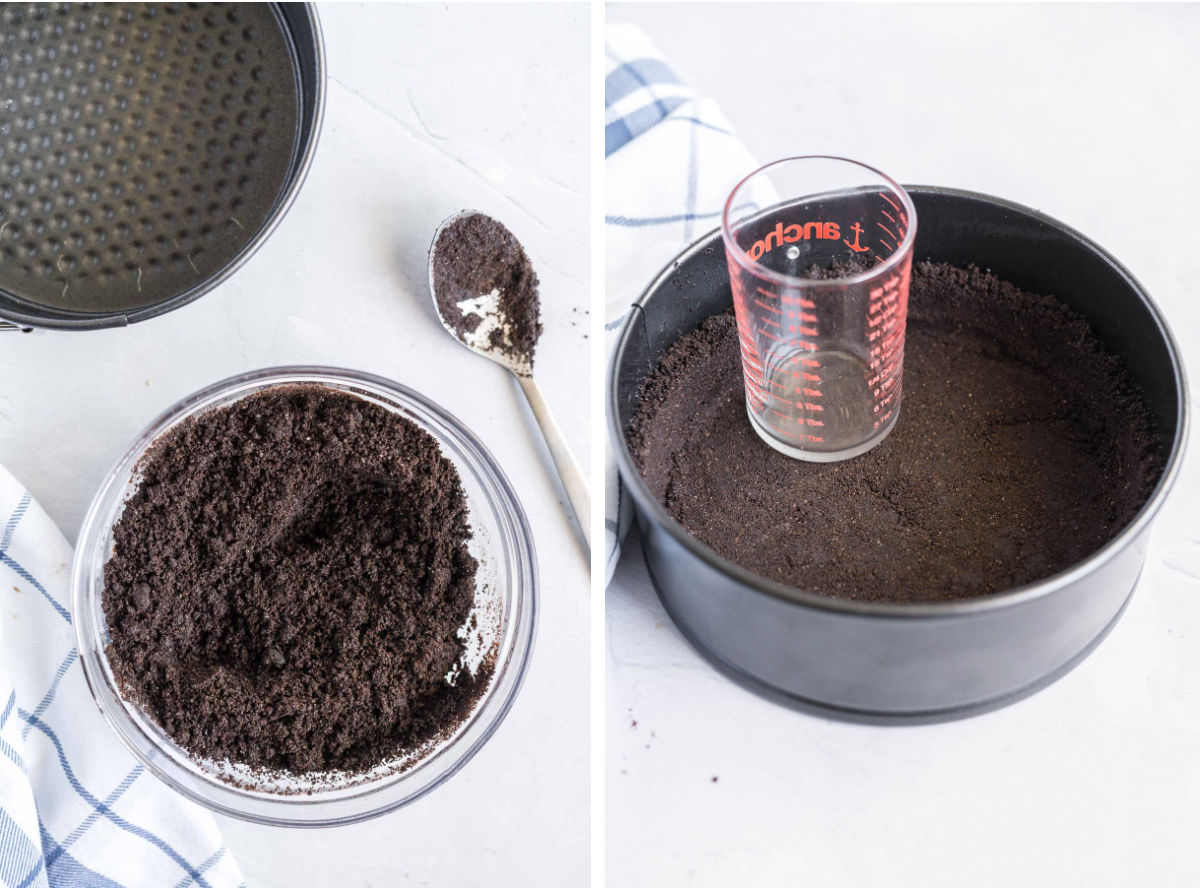 2 image collage. Left, Mixing cookie crumbs and melted butter in a bowl. Right, pressing cookie crumbs into a springform pan with the bottom of a glass.