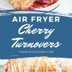 Cherry turnovers on a white plate with text overlay.