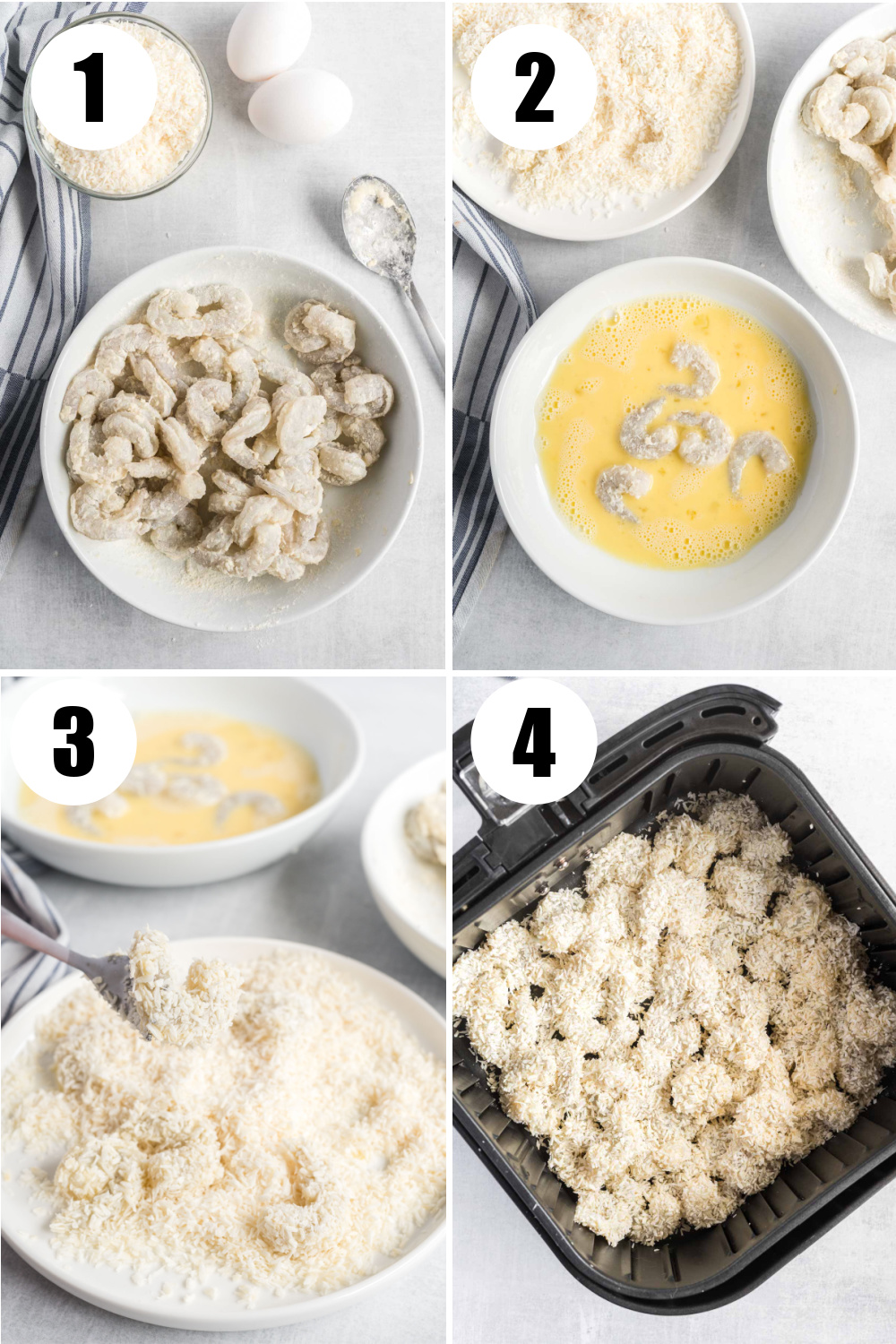 Four image collage. Top left, shrimp in a bowl coated in flour. Top right, shrimp dipped in egg wash. Bottom left, egg washed shrimp dipped in shredded coconut. Bottom right, coconut coated shrimp in air fryer basket.