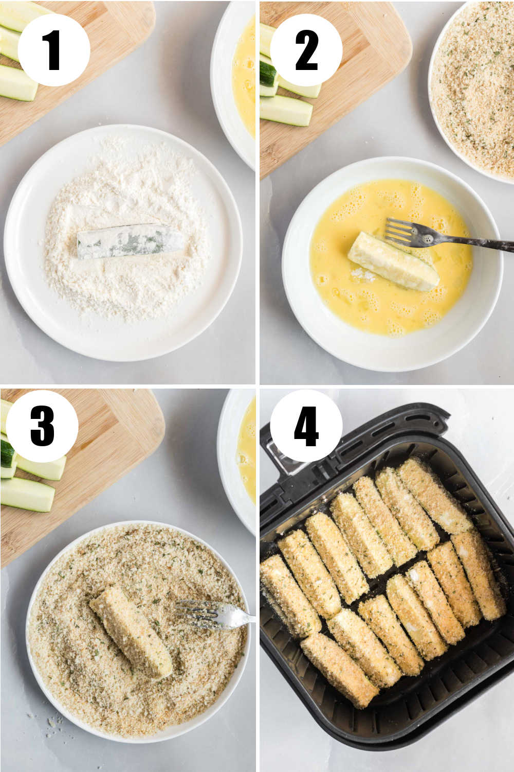 Four image collage. Top left, zucchini dipped in flour.  Top right, zucchini dipped in egg. Bottom left, zucchini dipped in breadcrumbs. Bottom right, breaded zucchini in air fryer basket.