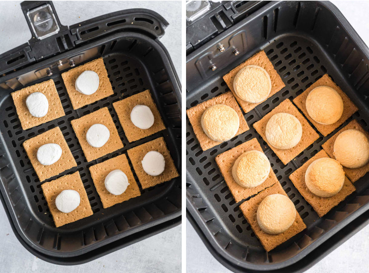 Graham cracker halves with marshmallows on top in an air fryer basket before and after toasting.