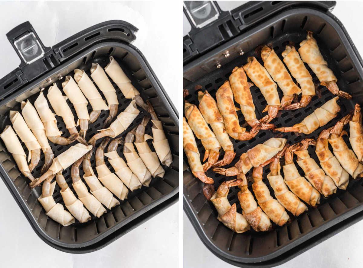 Firecracker shrimp in a single layer in an air fryer basket.